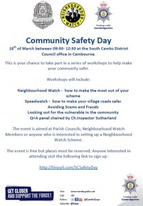Community safety event poster March 2017