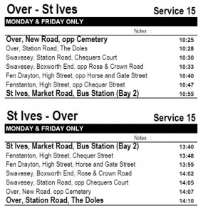 Dews 15 Bus timetable - Sept 2017