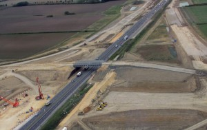 A14 construction Oct 2017 - Aerial photo