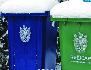 wheelie bin in snow